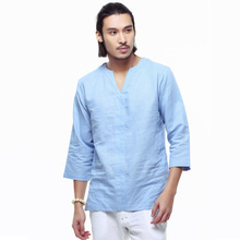 hot deal buy padegao retro vintage linen t shirts men's loose cotton half sleeves shirts white blue male plus size casual tee shirts bohe tee