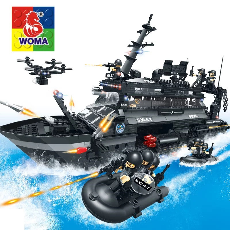 Military Series Police Kids Puzzle Assembling Urban Weapons Aircraft Car Boat Dolls Boy Toy Compatible Legoe police pl 12921jsb 02m