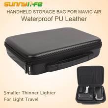 SUNNYLIFE Für Mavic AIR Wasserdichte Tragetasche Box PU Leder Oxford Lagerung Tasche Handtasche Für DJI Mavic Air Tragbare Koffer