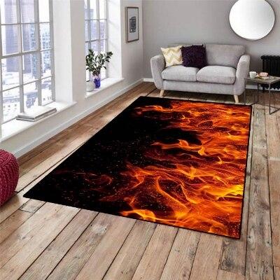 Else Black Floor Red Orange Flames Waves Pattern Print Non Slip Microfiber Living Room Decorative Modern Washable Area Rug Mat