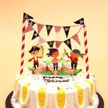Princess Pirate Dinosaur Theme Cupcake Topper Cartoon Cake Flags Banner Set Kids Boy Girl Birthday Baby Shower Cake  Decoration