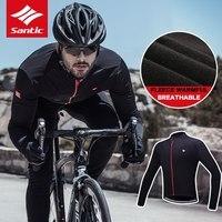 Santic Cycling Jerseys Men Thermal Fleece Long Sleeve Cycling Jacket Windproof Full Zipper Winter Ropa Ciclismo Hombre jacket 2b