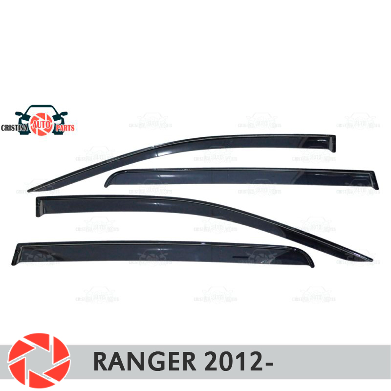 Window deflector for Ford Ranger 2012- rain deflector dirt protection car styling decoration accessories molding car covers abs chrome front headlight lamp cover fit for 2012 2014 ford ranger car styling