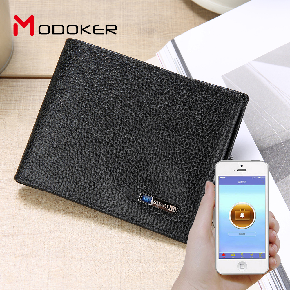 Anti-lost Bluetooth with Smart Wallet Leather Fashion Multi-function with GPS Tracker anti lost smart bluetooth 4 0 wallet for men women