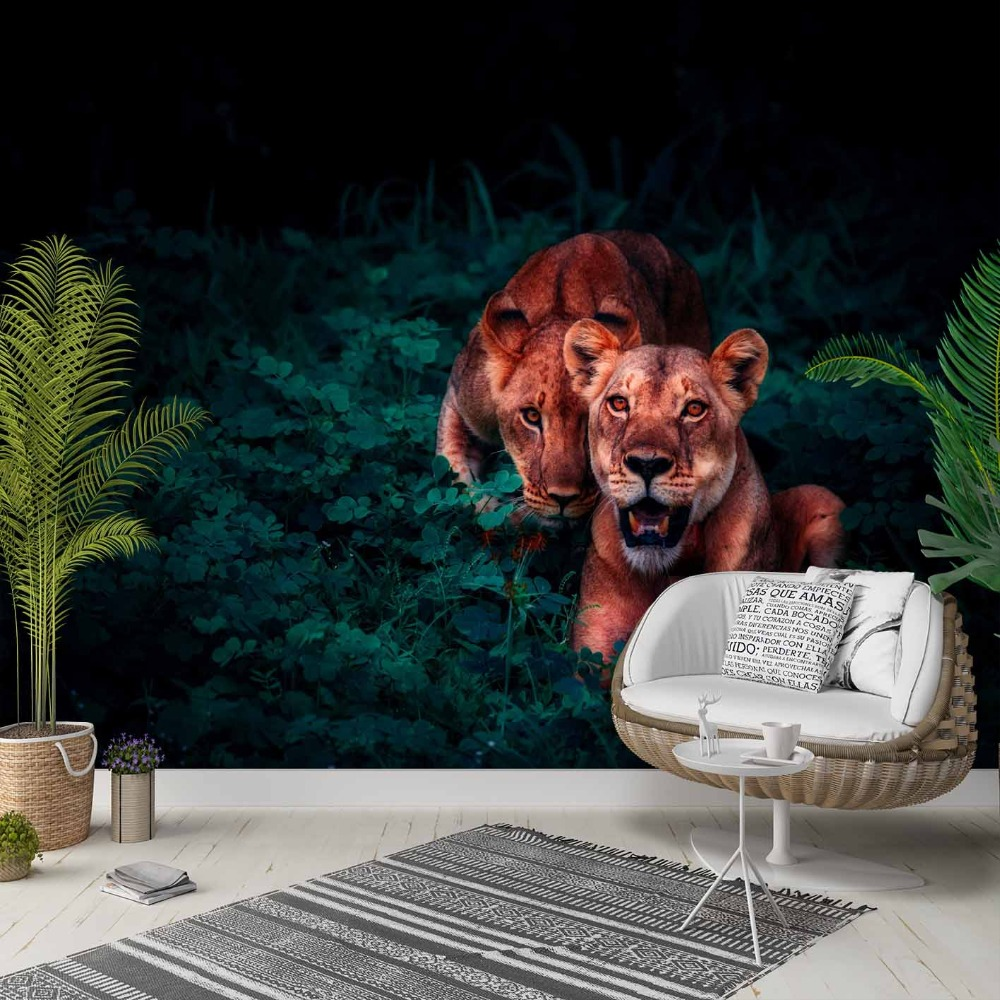 Else Green Jungle Forest In Wild Tigers 3d Photo Cleanable Fabric Mural Home Decor Living Room Bedroom Background Wallpaper
