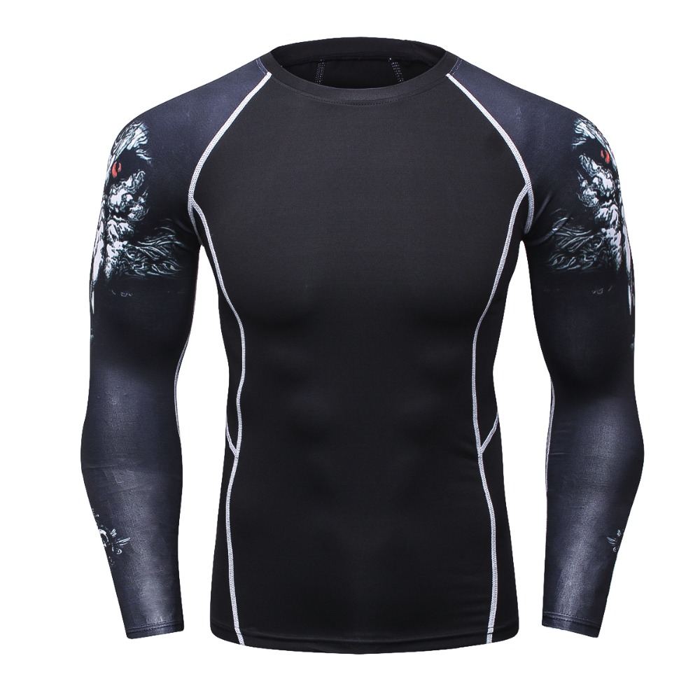 New Men Compression T-Shirt Long Sleeve 3D T hirt Male Workout Fitness Clothing Bodybuilding Crossfit Base Layers Sportswear