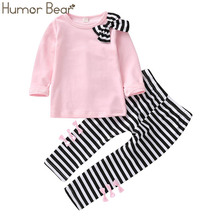 Humor Bear Baby Girls Sets Long Sleeve Tops+Striped Pants 2019 Spring Autumn Children Clothing Sets Girls Clothes Kids Outfits cheap Casual O-Neck Pullover BZ222 Stretch Spandex COTTON Full REGULAR Fits true to size take your normal size Coat