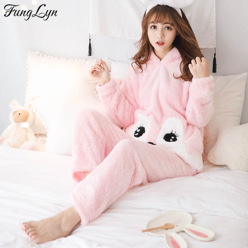 FL027C Cute Cartoon Pyama Pajamas Flannel Pijamas Mujer Pigiama Donna Pyjamas Women Pajama Set Pijama Feminino
