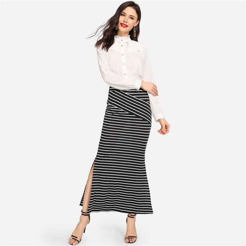 SHEIN Black and White Elegant Varsity Striped Slit Hem Skirt 2018 ... 70f83c4259c2