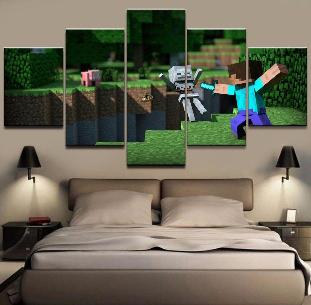 Us 102 49 Offna Płótnie Hd Wydrukowano Obraz Wall Art 5 Sztuka Gra Minecraft Plakat Malarstwo Na Nowoczesne Sypialnia Pokój Dzienny Dom