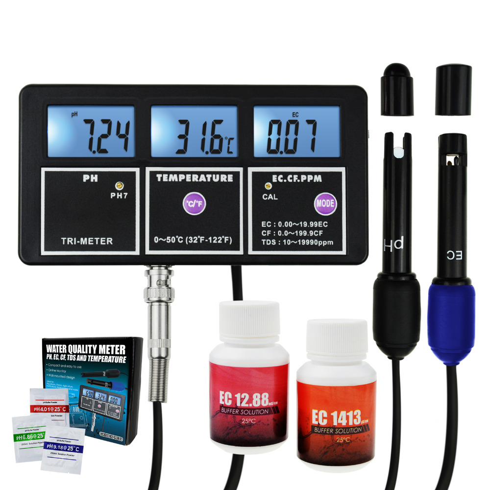 5-en-1 qualité de l'eau multi-paramètres PH EC CF TDS (ppm) température Test mètre Aquariums hydroponie piscine réservoir de poissons étang potable