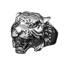 New Design Personality European fashion Animal Tiger Head Ring Men Personality Unique Men's Animal Jewelry(China)