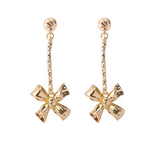 Stud earrings geometry long metal bowknot The girl deserve to act the role of party