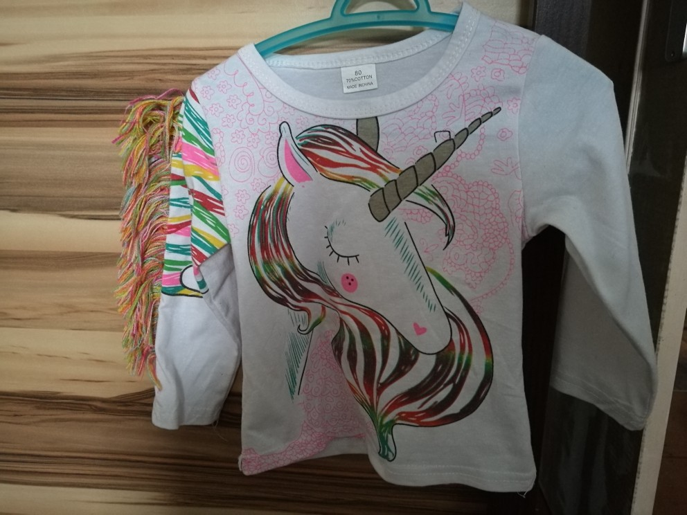 Unicorn Pattern Long Sleeve Tops Clothes 1-6y photo review