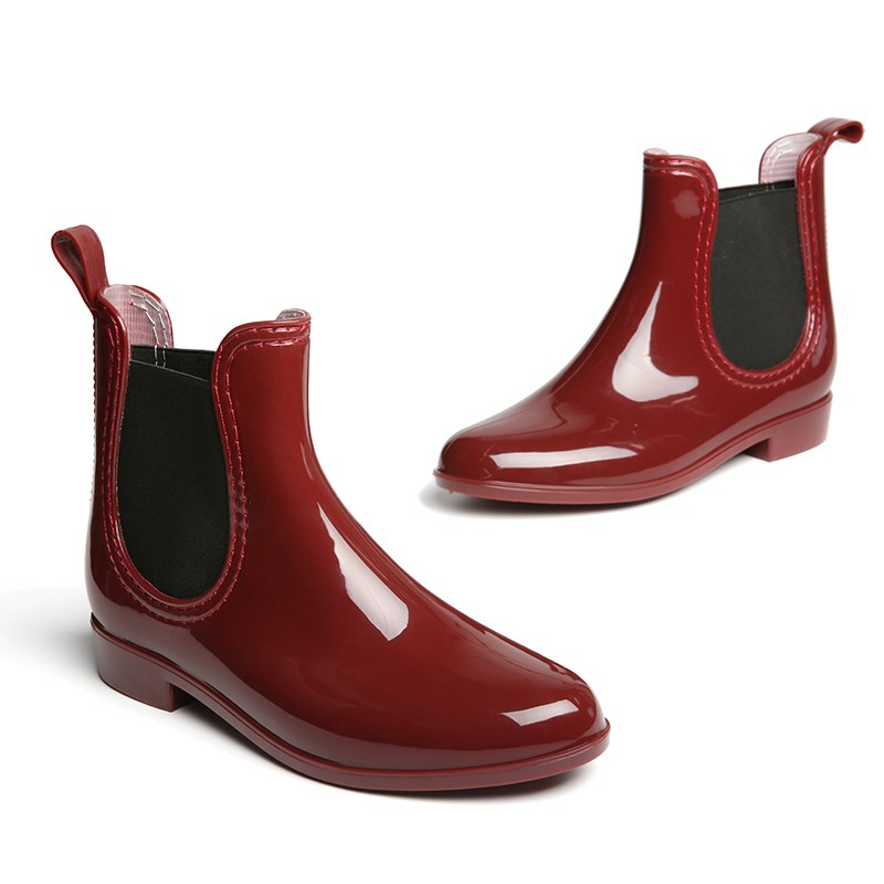 f74e6fdba YJP Women Rain Boots, Black/Blue/Red Waterproof Chelsea Ankle Rubber Boots,  Ladies Fashion Anti slip Round Toe Slip On Shoes-in Ankle Boots from Shoes  on ...