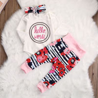 CANIS Brand Cotton Newborn Baby Clothes Girls Flower Romper Pants Legging Outfits 3Pcs Set Clothes US Stock 0-18M