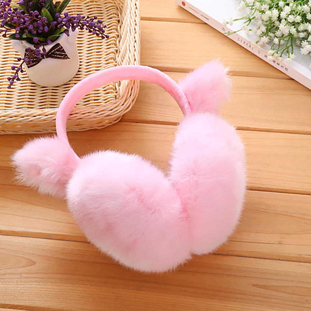 Women Girls Cute Ear Cover Plush Soft Winter Warm Folding Earmuffs Earwarmers