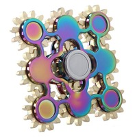 Colorful Nine Teeth Linkage Fingertips Gyro EDC Hand Spinner ADHD Stress Relief Toy For Kids With