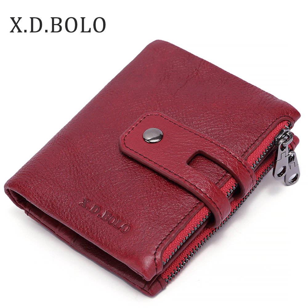 x.d.bolo Ladies Purse Top Leather Mini Hasp Wallet Women Wallet Purse Small Clutch Female Wallets Card Holder Carteira