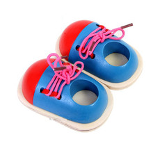 Здесь можно купить   New Fashion Kids Montessori Educational Toys Children Wooden Toys Toddler Lacing Shoes Early Education Montessori Teaching Aids Puzzles & Magic Cubes