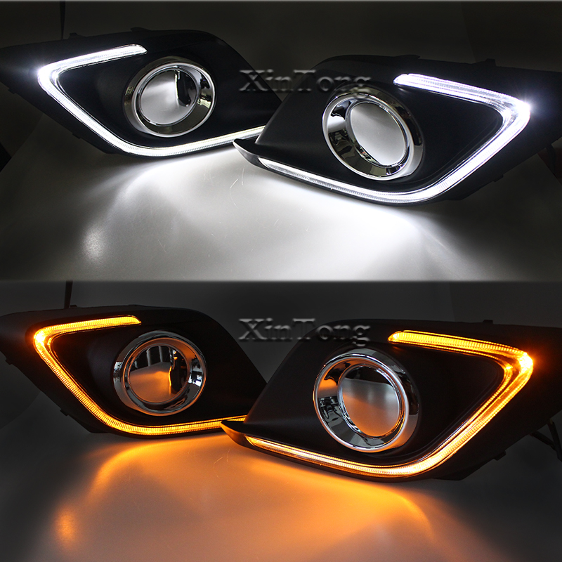 Turn Signal Light And Dimming Style Relay 12V LED Car DRL Daytime Running Lights With Fog Lamp Hole For Mazda 3 Axela 2014 2015 turn off and dimming style relay led car drl daytime running lights for ford kuga 2012 2013 2014 2015 with fog lamp