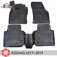 Tapetes para Skoda Kodiaq 2017 ~ 2019 tapetes antiderrapante poliuretano proteção sujeira interior car styling acessórios