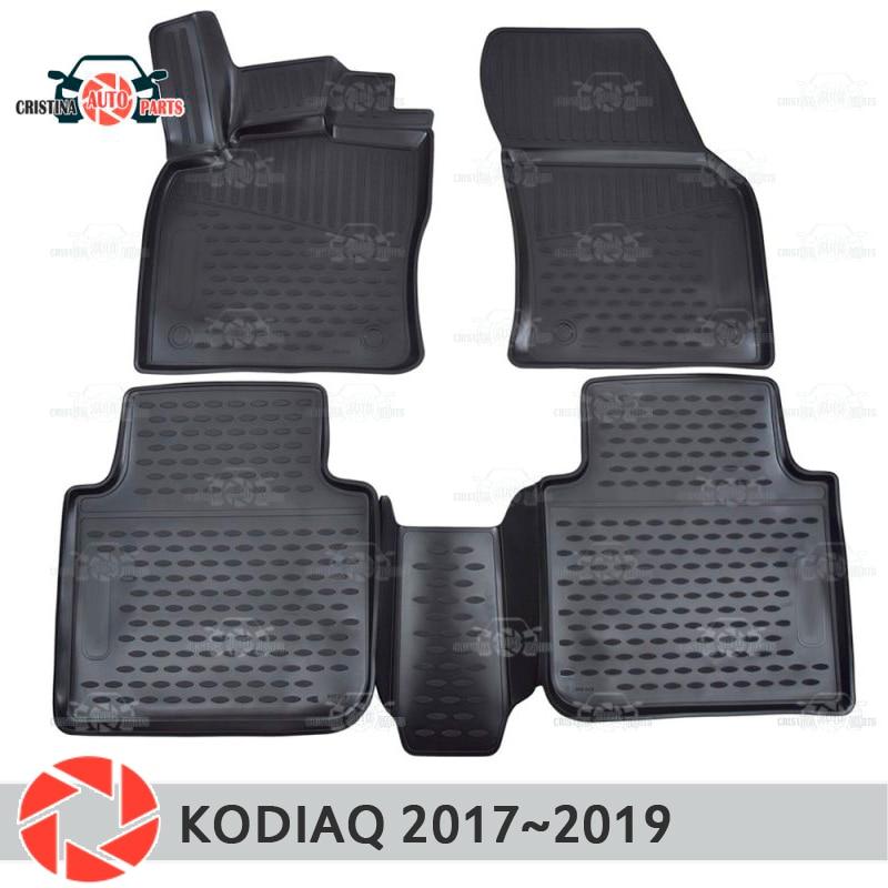 Tappetini per Skoda Kodiaq 2017 ~ 2019 tappeti antiscivolo poliuretano sporco di protezione interni car styling accessori
