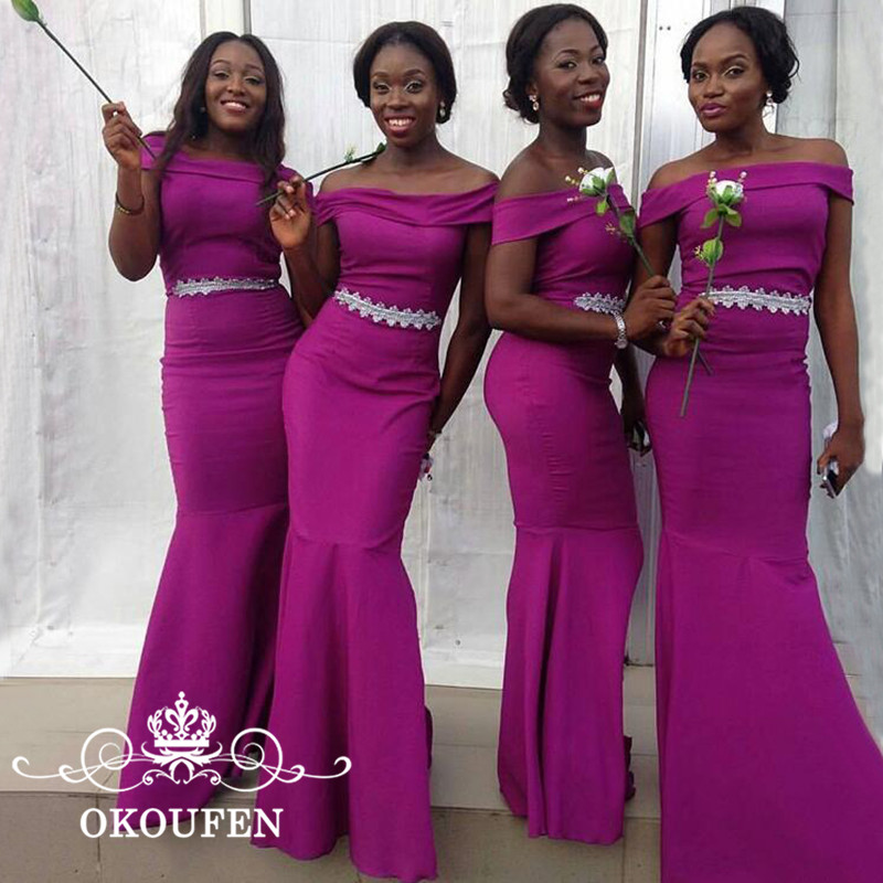 African Women Mermaid   Bridesmaid     Dresses   2018 White Waist Decoration Long Purple Satin Maid Of Honor   Dress   For Wedding Party