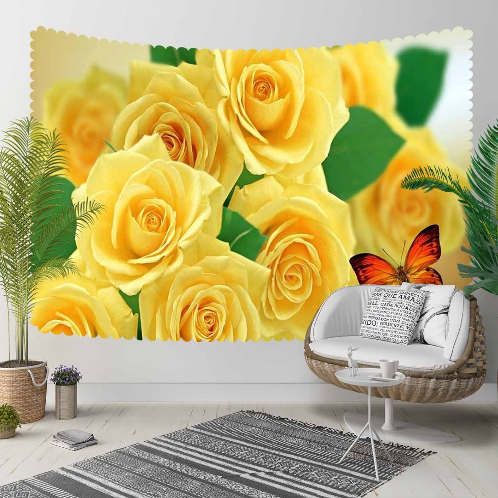 Else Yellow Roses Green Leaf Flower Orange Butterfly 3D Print Decorative Hippi Bohemian Wall Hanging Landscape Tapestry Wall Art