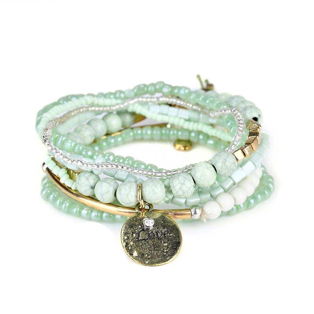 Us 5 22 45 Off Lureme Bohemian Beads Coin Love Charms Multi Strand Textured Stackable Bracelets Set For Women Femme Charm Bracelet Bl003062 In