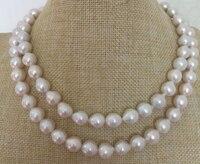 Два ряда 9 10 мм южного моря барокко белый жемчуг ожерелье 18 19 925 s>>> девушки колье ожерелья Бесплатная доставка