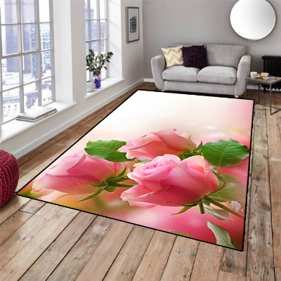 Else Pink Roses Green Leaves Floral Flowers 3d Print Non Slip Microfiber Living Room Decorative Modern Washable Area Rug Mat