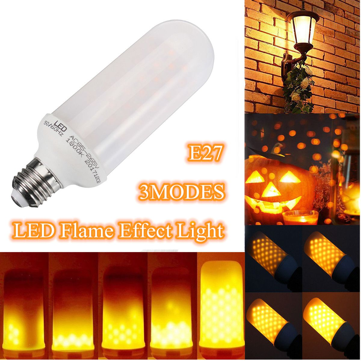 E27 9W LED Lamp Flame Burning Light Flicker Flame Lamp Bulb Fir e Effect Decorative Lamp NEW