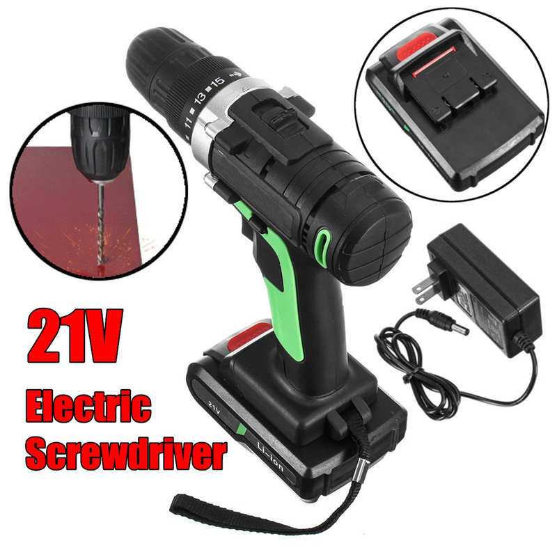 21V Green+Black Cordless Electric Screwdriver Household Rechargeable Screwdriver with 1 x Battery ,1 x Charger fenix uc02 rechargeable black