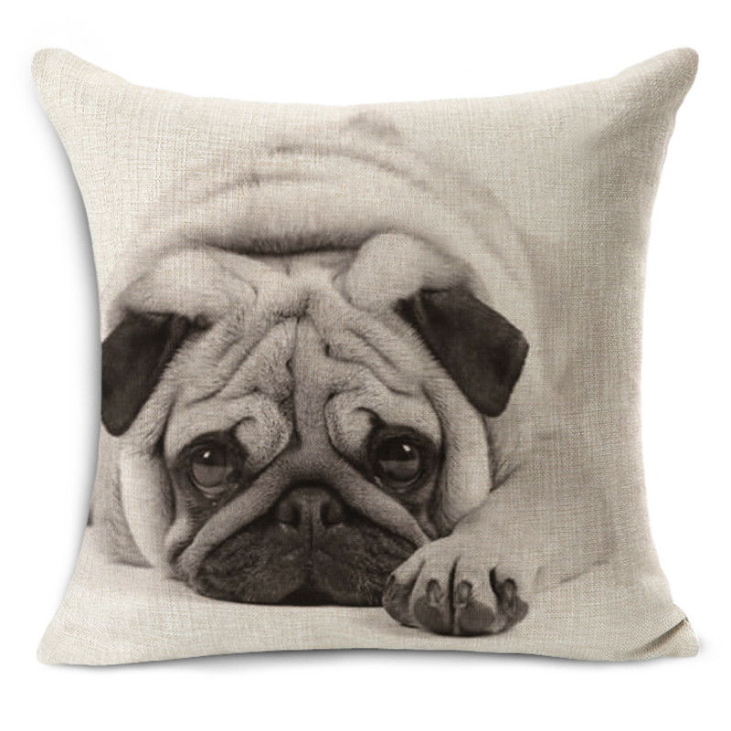 NEW Boston Terrier Home Decorative Throw Pillows Almofadas Car Bed Cushion 45x45cm Cute French Bulldog Pillowcase Cotton Linen