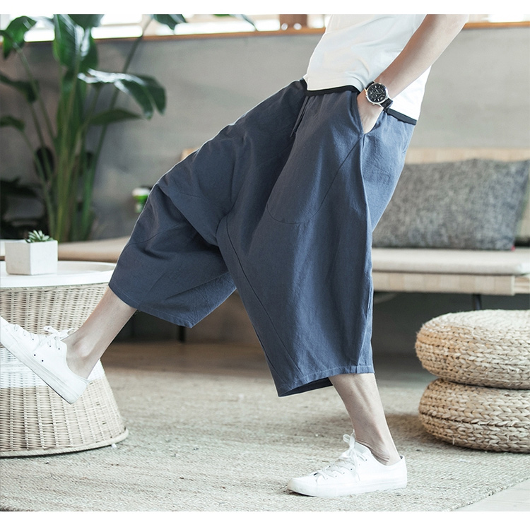 MRDONOO Men Pants Men's Wide Crotch Harem Pants Loose Large Cropped Trousers Wide-legged Bloomers Chinese Style Flaxen Baggy 101