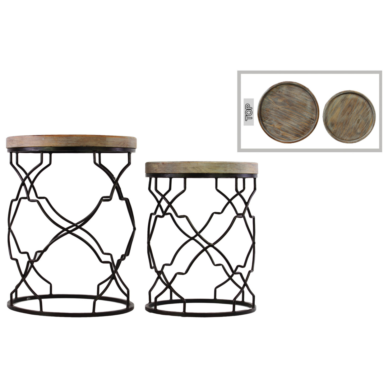 Urban Trends Metal Round Nesting Accent Table with Recessed Wood Top and Round Base Set of Two Coated Finish Black цена 2017