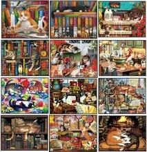 Коллекция с изображением кошки, наборы для вышивки крестиком 2 шт. цветные наборы для вышивки крестиком DMC ручной работы «сделай сам» 14 карат
