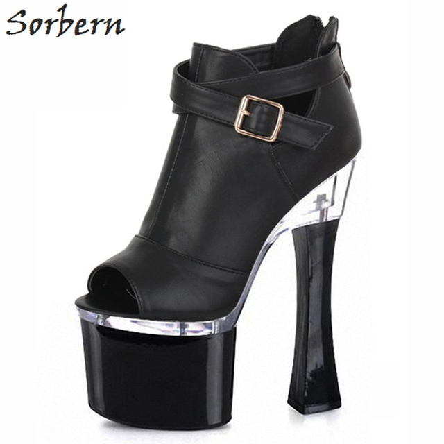 87353df3d26f1 Sorbern Black Ankle Boots Open Toe Spike High Heels Ladies Shoes Platform  Boots Big Size Black Boots Women Gothic Shoes