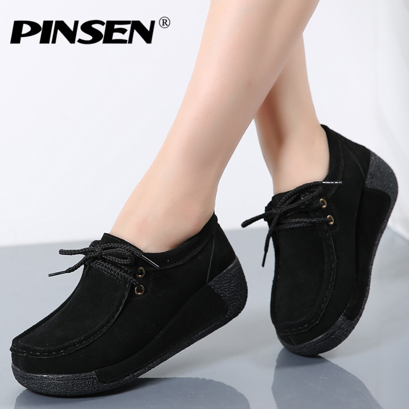 PINSEN Women Flats Platform Sneakers Loafers Shoes Female   Suede     Leather   Casual Shoes Lace Up Flats elegant Moccasins Creerper
