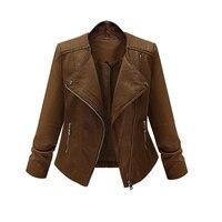 ZANZEA PU Leather Jacket Women 2017 Fashion Turn Down Collar Full Sleeve Zipper Jacket Outwear Ladies