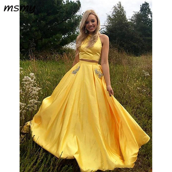 Elegant Evening Dresses Yellow Satin Two Pieces Prom Dresses Open Back Crew Neck Sleeveless Beaded Sequins Pockets Evening Party