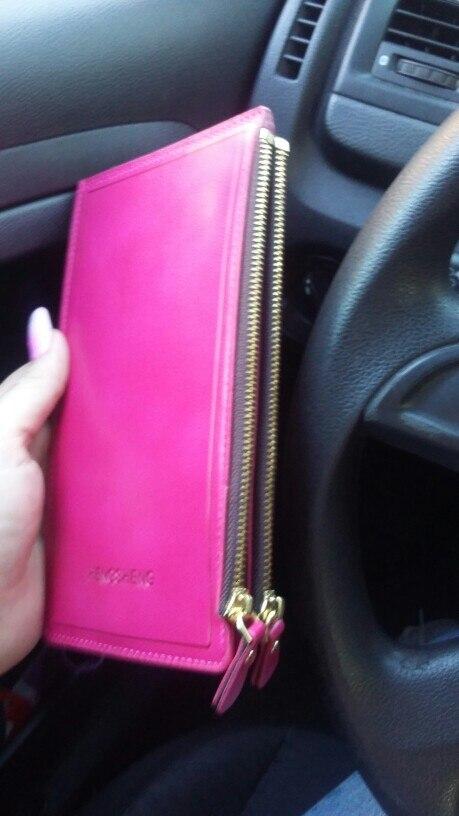 Super Deal Hoge Kwaliteit Vrouwen Lange Rits Card Holder Clutch Bifold Slanke Card bag Portemonnee photo review