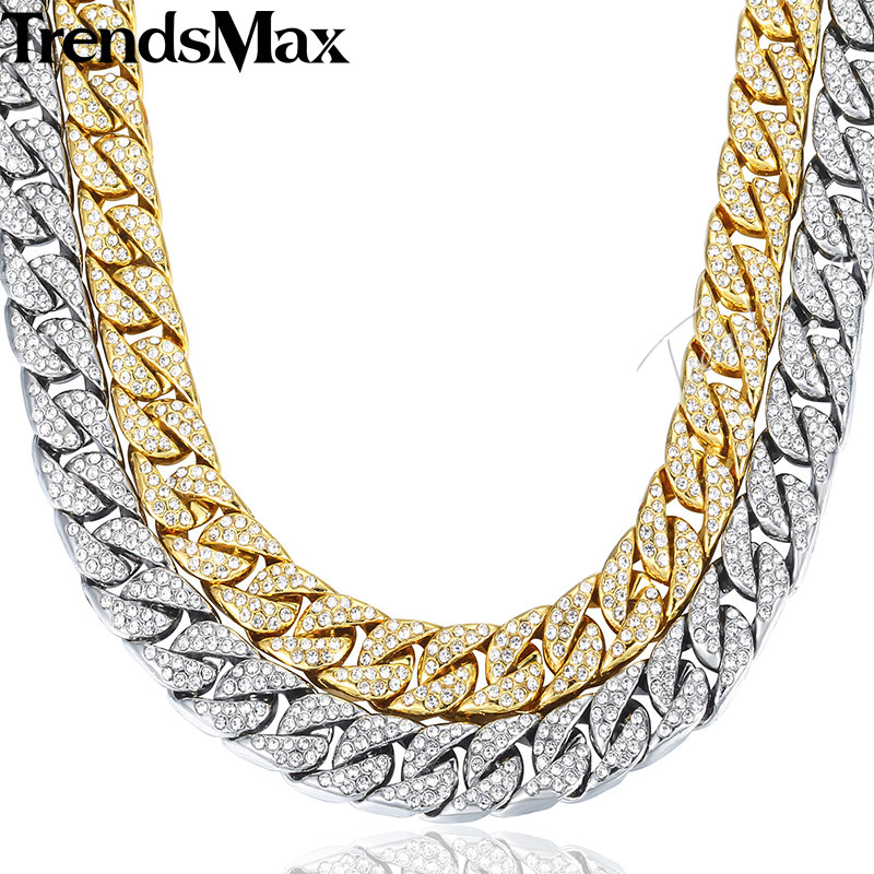14mm Miami Curb Cuban Chain Necklace For Men Gold Silver Hip Hop Iced Out Paved Rhinestones