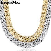 Мм 14 мм Майами Снаряженная кубинская цепь ожерелье для мужчин золото серебро хип-хоп Iced Out проложили Стразы CZ Рэппер ожерелье ювелирные изделия GN432