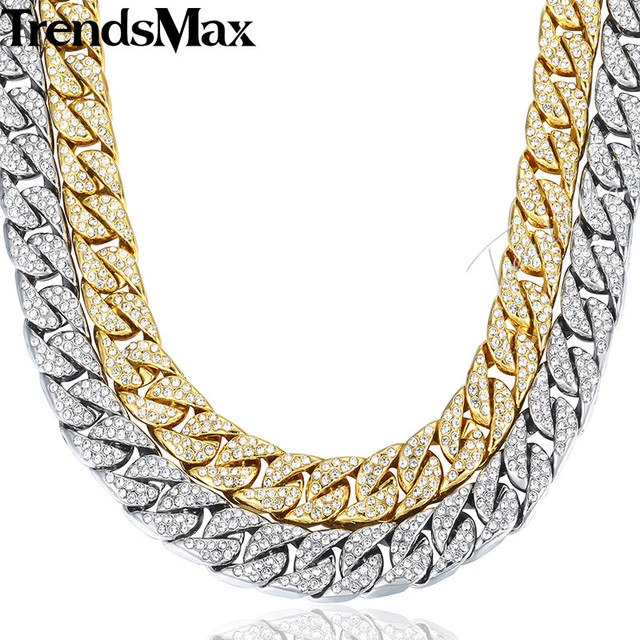 14mm Miami Curb Cuban Chain Necklace For Men Gold Silver Hip Hop Iced Out Paved