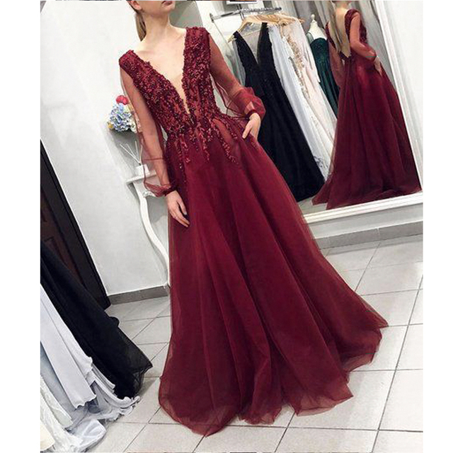 Angel Married evening dresses with sleeve low v neck prom dress elegant women patry gown formal party dress vestidos de fiesta