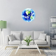 ILOKY New 3D wall stickers for kids rooms Luminous blue earth glow in the dark stars sticker bedroom home decor living room
