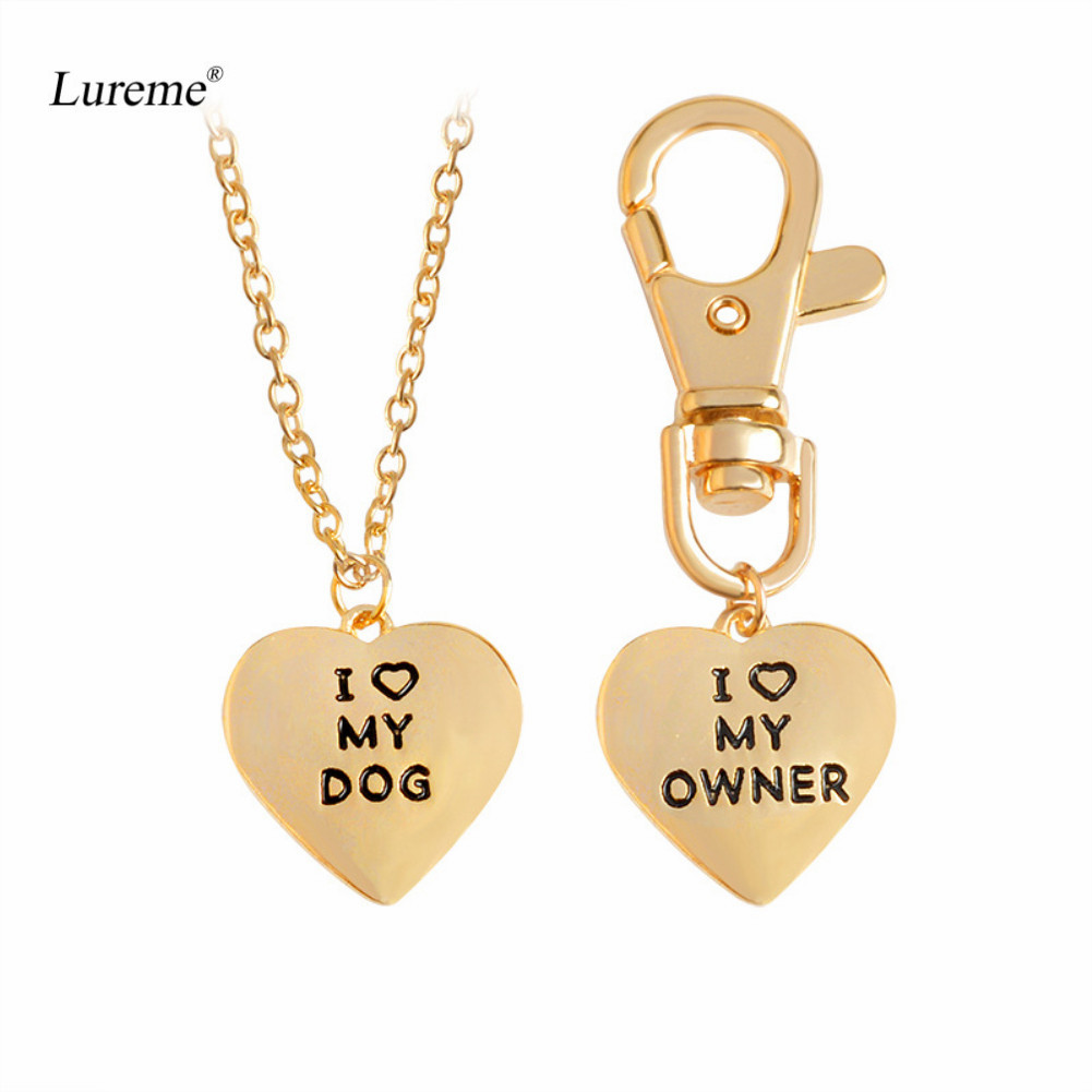 Lureme 2 Pcs Best Friends Owner and Dog Letter I LOVE MY DOG Necklace Keychain for Women Girl Jewelry (nl005672) image