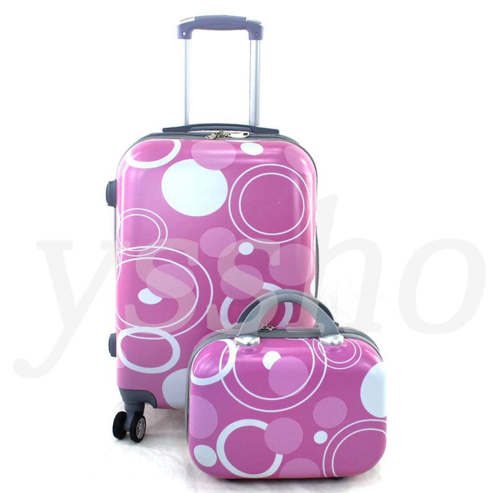 Cabin Suitcase Stamped Fuchsia Circles 55cm Rigid With Cosmetic Bag